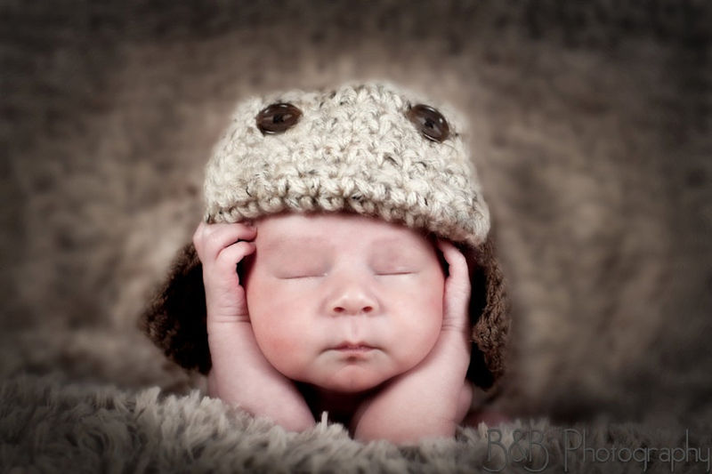 Crochet Aviator Hat, Newborn Pilot Hat - product images  of