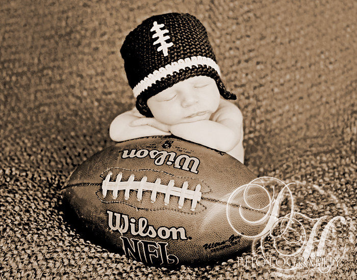 Baby Football Hat, Newborn Crochet Hat - product image