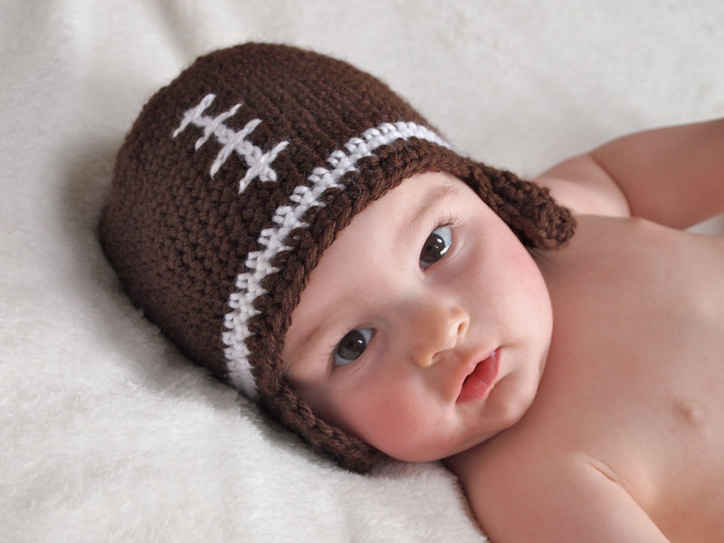 Crochet Pattern Baby Hat Free : Baby Football Hat, Newborn Crochet Hat - Baby Grace