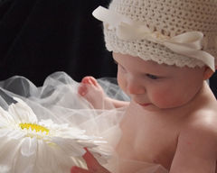 Baby Crochet Hat, Newborn Ballerina Hat, Ivory - product images 3 of 5