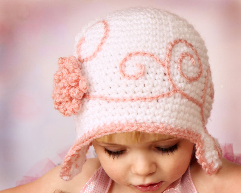 Baby Girl Flapper Hat with Flower. Newborn. - product image