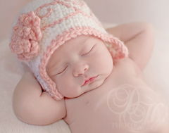 Baby Girl Flapper Hat with Flower. Newborn. - product images 1 of 4
