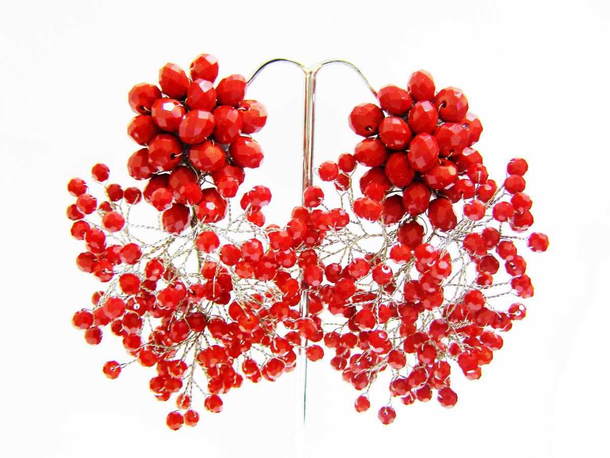 Red Rageous Dangle Earrings Thai Fashion Jewelry