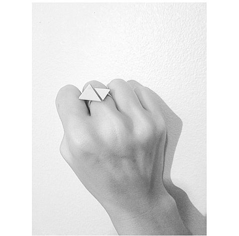 Double,Triangle,Ring,Double triangle, silver, ring
