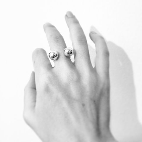 Double,Sphere,Ring,Silver, ring