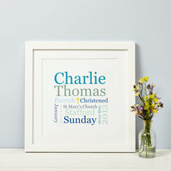 Christening,Or,Baptism,Print,in,Pink,or,Blue,Personalised Christening Baptsim Naming Day Dedication Gift Print