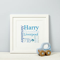 Personalised,New,Baby,Typographic,Print,Personalised New Baby Boy or Girl Gift Print