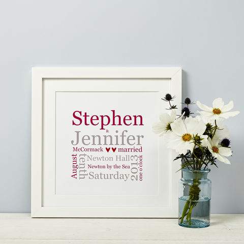 Personalised,Wedding,Typographic,Print,Personalised Wedding Gift Print framed