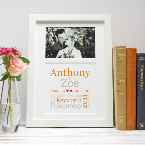 Personalised,Typographic,Wedding,Photo,Print,Personalised Wedding Gift Print framed Photograph