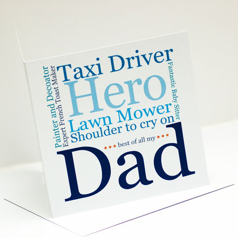 My,Dad/Daddy,Personalised,Typographic,Card,My Dad/Daddy Personalised Typographic Card