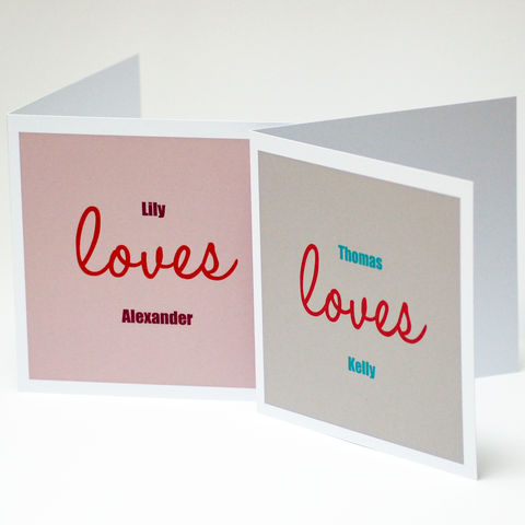 Personalised,Names,Loves,Valentine's,Card,Valentine's Day Card