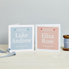 Personalised,Details,New,Baby,Card,Pink,or,Blue,Personalised New Baby Card pink or blue
