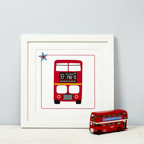 Personalised,New,Baby,Typographic,Print,New Baby Red Bus Print Girl or Boy Gift
