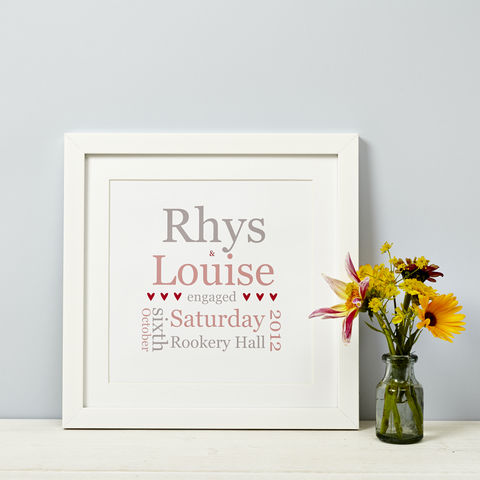 Personalised,Typographic,Engagement,Print,Personalised Typographic Engagement Print Framed Gift