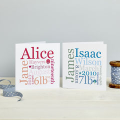 New,Baby,Word,Block,Personalised,Card,Personalised New Baby Gift Card