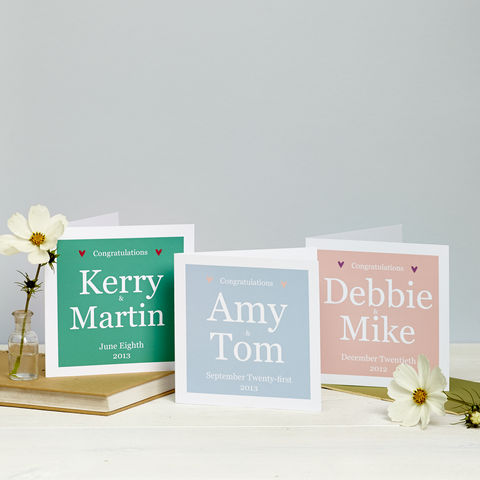 Personalised,Couple,Card:,Blue,,Pink,Or,Teal,Personalised Couple Wedding Card