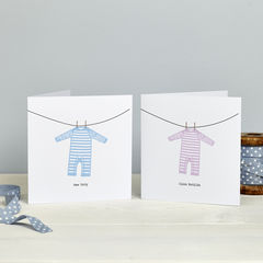 Personalised,New,Baby:,Sleepsuit,Card,Personalised New Baby Card Sleepsuit Pink Blue Red Purple