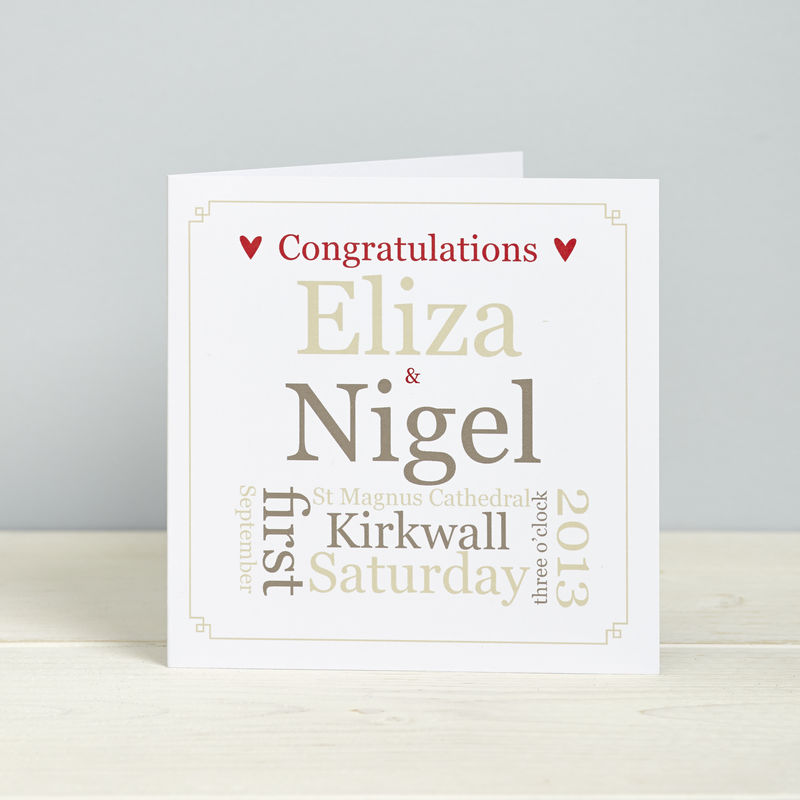 Personalised Wedding Gift Cards : ... 14cm personalised wedding detail cards listed in home wedding cards