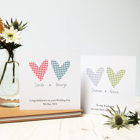 Two,Hearts:,Personalised,Couple,Card,Wedding anniversary engagement, valentine's day card Personalised