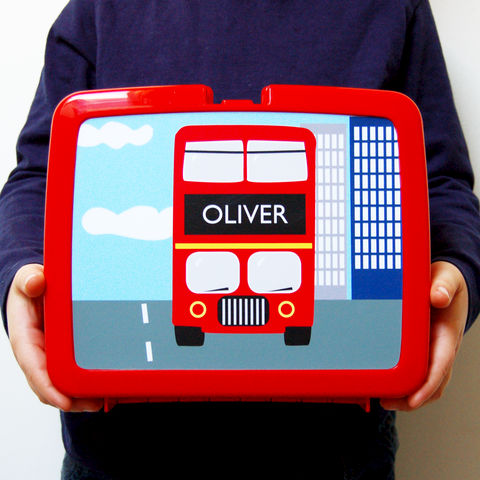 Personalised,Red,Bus,Lunch,Box,Personalised Children's Packed Lunch Box Traditional Retro