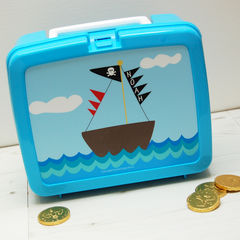 Personalised,Pirate,Ship,Lunch,Box,Personalised Children's Packed Lunch Box Traditional Retro