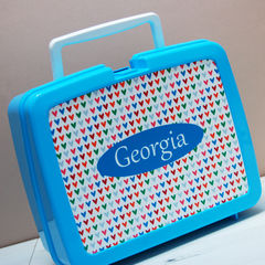 Personalised,Hearts,Lunch,Box,Personalised Children's Packed Lunch Box Traditional Retro