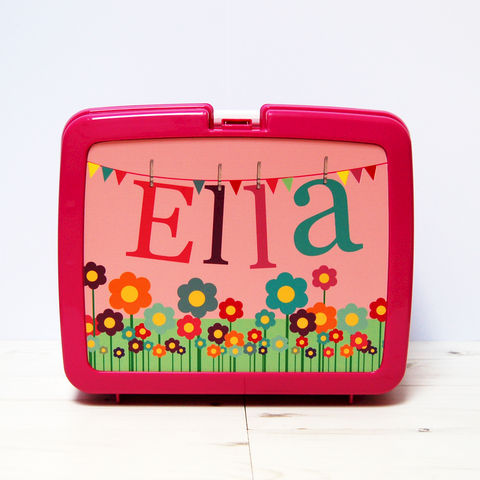 Personalised,Flowers,Lunch,Box,Personalised Children's Packed Lunch Box Traditional Retro