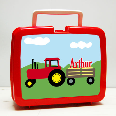 Personalised,Tractor,Lunch,Box,Personalised Children's Packed Lunch Box Traditional Retro