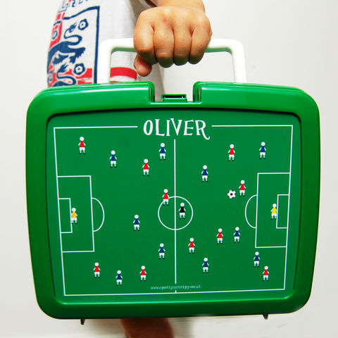 Personalised,Football,Lunch,Box,Personalised Children's Packed Lunch Box Traditional Retro
