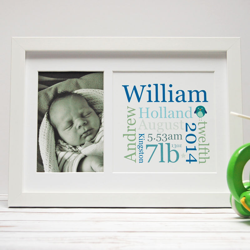 Personalised New Baby Photo Detail Print - product images  of