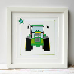 Personalised,Mounted,Tractor,Print:,Various,Colours,Mounted Green Red Blue personlised Tractor Gift Print