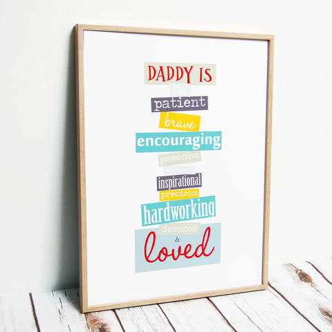 'Dad/Daddy,Is',Colourful,A3,Typographic,Art,Print,Father's Day Dad A3 Typographic bold print