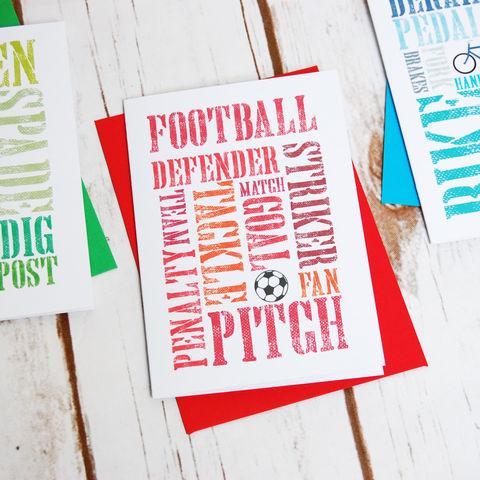 Football,Themed,Card:,Blank,Inside,Father's Day, Football, Footie, Birthday, Card