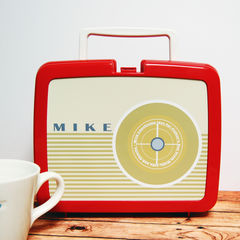 Personalised,Retro,Radio,Lunch,Box,Personalised Dad's Father's Day Packed Lunch Box Traditional Retro Radio