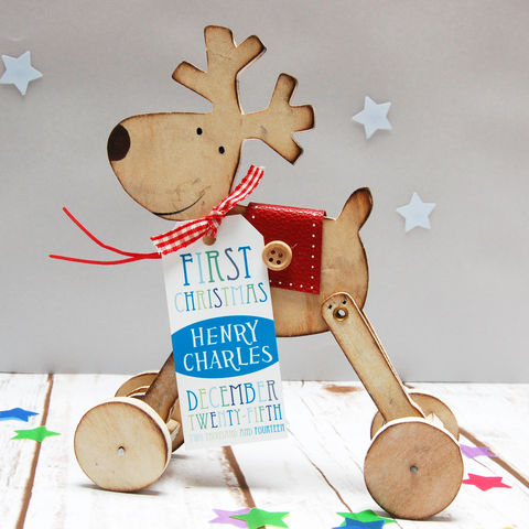 Wooden,Reindeer:,Personalised,First,Christmas,Gift,First Christmas Reindeer Decortion New Baby Gift