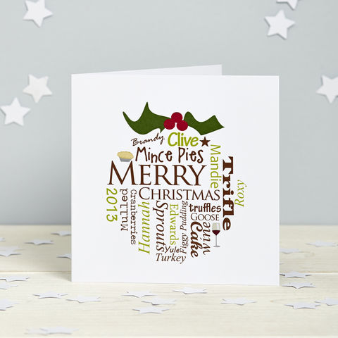 Personalised,Christmas,Pudding,Card,Pack,Personalised foodie Food, Christmas pudding Cards