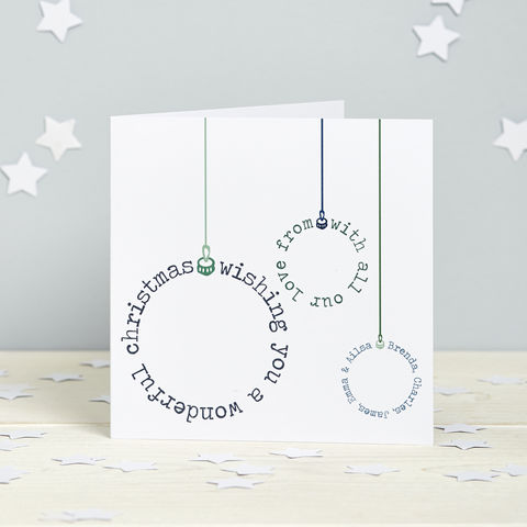 Personalised,Typographic,Bauble,Card,Pack,Bauble Personalised Christmas Cards