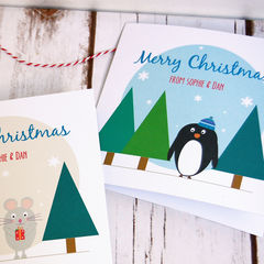 Personalised,Woodland,Creature,Christmas,Card,Woodland Personalised Penguin Christmas Cards