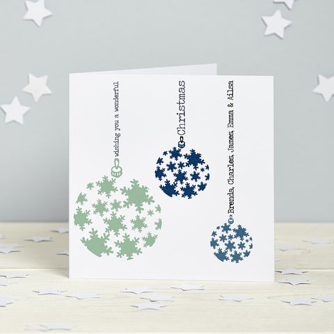 Personalised,Snowflake,Bauble,Cards,Bauble Personalised Christmas Cards