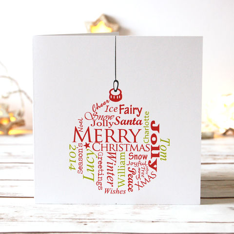 Personalised,Typographic,Bauble,Card,Pack,Personalised family, Christmas bauble modern Cards