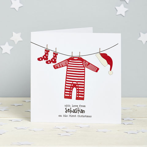 On,My,First,Christmas:,Personalised,Card,Pack,First Christmas New Baby Christma card
