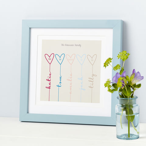 Personalised,Family,Hearts,Print,For The Family Personalised Gift Print