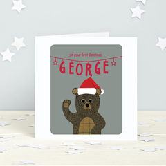 First,Christmas:,Personalised,winter,animal,card,First Christmas, 1st Christmas, teddy bear, polar bear, reindeer, tweed