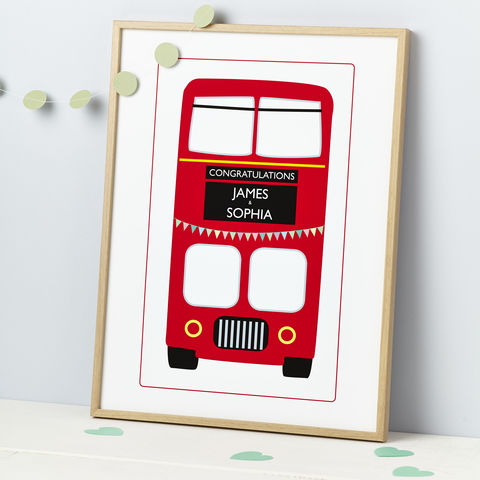 Red,London,Bus,A4,,A3,or,A2,Celebration,Print,Wedding Day Personalised London Bus Bunting Print