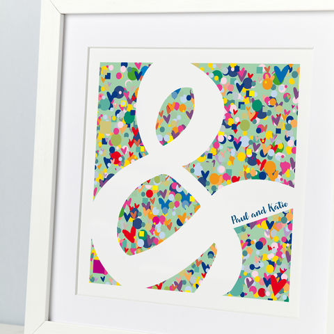 Ampersand,Confetti,Wedding,Couple,Print,Personalised Couple Print Gift Wedding, engagement, anniversary