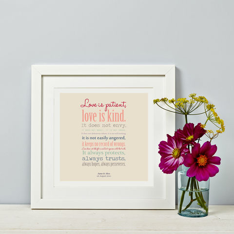 Love,is,Patient,-,Wedding,Gift,Corintian's,Reading,Personalised Couple Print Gift Wedding, engagement, anniversary