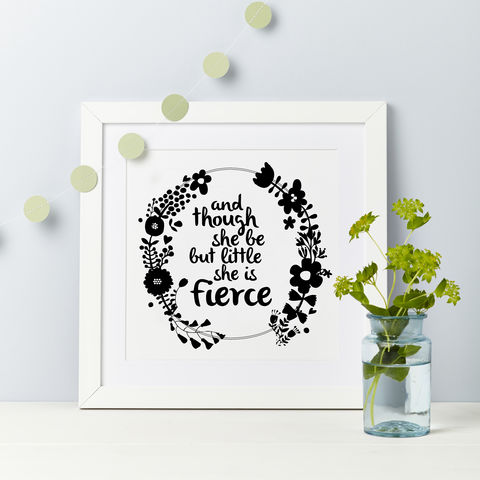and,though,she,be,but,little,quote,print,Shakespere quote birthday girl gift print