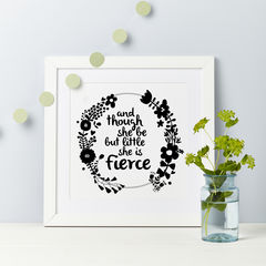 and,though,she,be,but,little,Shakespeare,quote,print,Shakespere quote birthday girl gift print