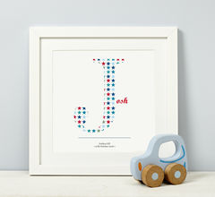 Child's,Initial,Blue,Personalised,Print,New Baby First Birthday Christening Child Gift print