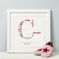 Child's,Initial,Pink,Personalised,Print,New Baby Girl First Birthday Christening Child Gift print